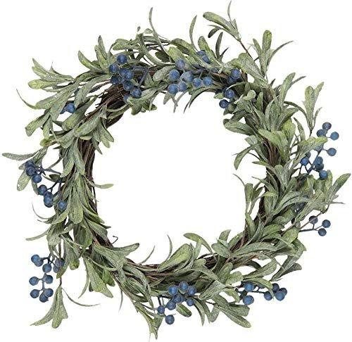 Kranz mit blauen Beeren Beerenkranz Kranz Türkranz Tischkranz Kunstfloristik