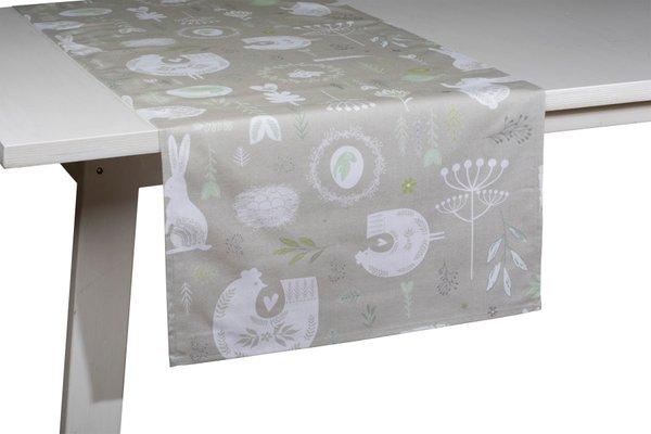 Pichler Tischläufer Oscar Farbe Beton BT Design Hasen und Eier auf beige-grauem Grund Ostern