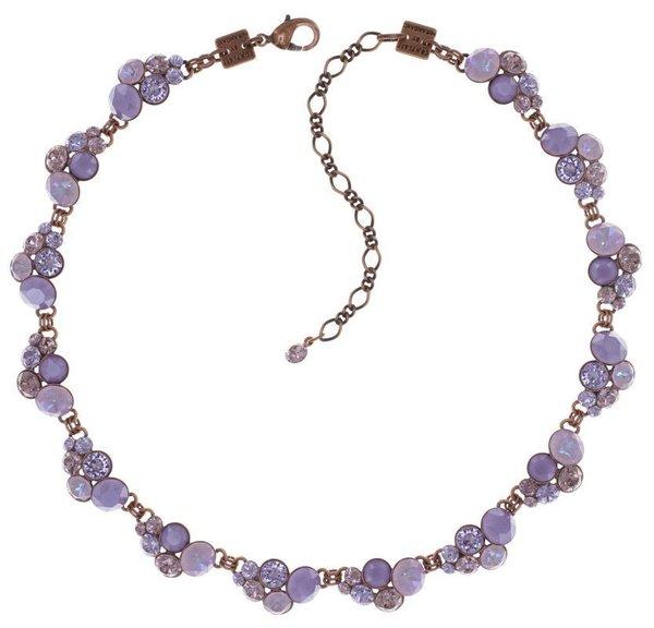 Konplott Kette Collier Petit Glamour lila, Farbbezeichnung lila scent lila, auf Kupferfassung, by Myranda Konstantinidou mit Kristallsteinen auf antique copper