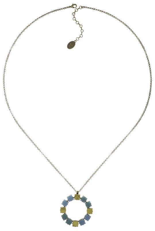Konplott Kette Cleo lange Halskette hellblau/gold auf antique brass (Messing)