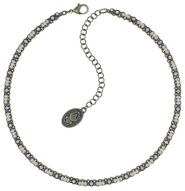 Konplott Kette Kaleidoscope Illusion mit winzigen Perlchen bestückt creme auf antique messing