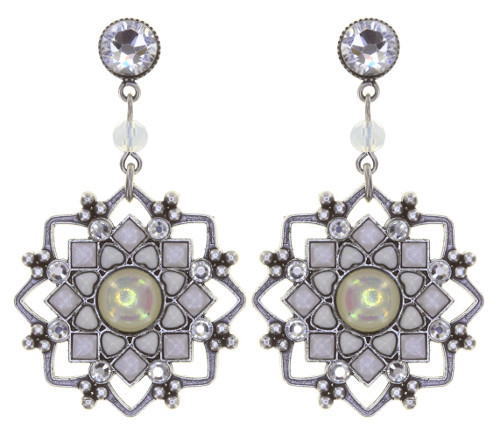 Konplott Ohrringe hängende Ohrstecker Mandala in weiss white antique silver