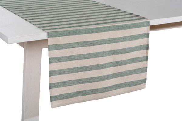 Pichler Tischläufer Läufer Niclas Halbleinen 50 / 150 cm natur mit breiten grünen Streifen Blockstreifen grün gestreift Farbezeichnung PI pinie