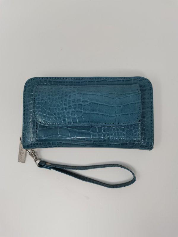 Portemonnaie in Kroko-Leder-Optik, dedämpftes Blau / Blaugrün