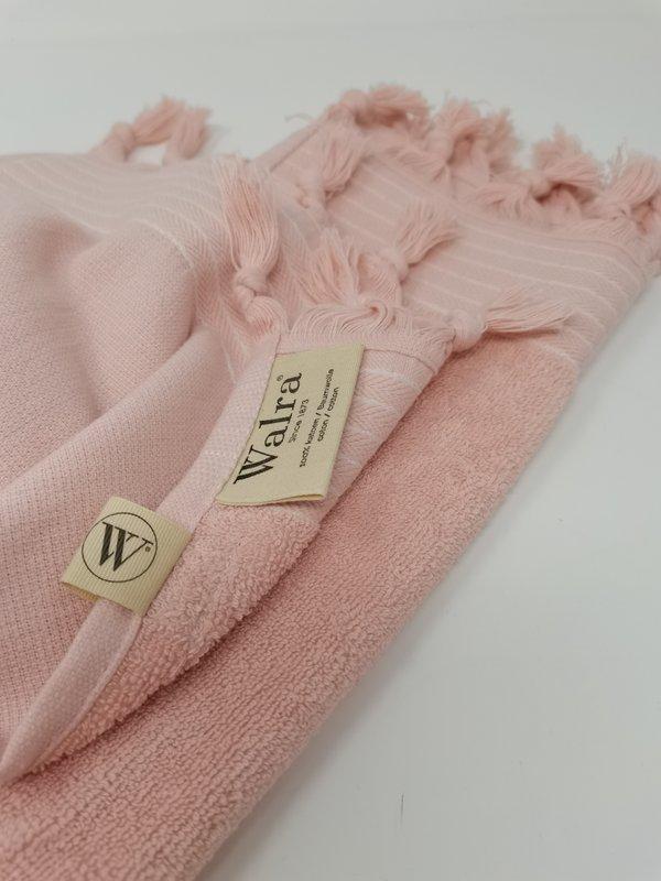 Walra Set von 2 Gästetüchern in rosa mit Fransen