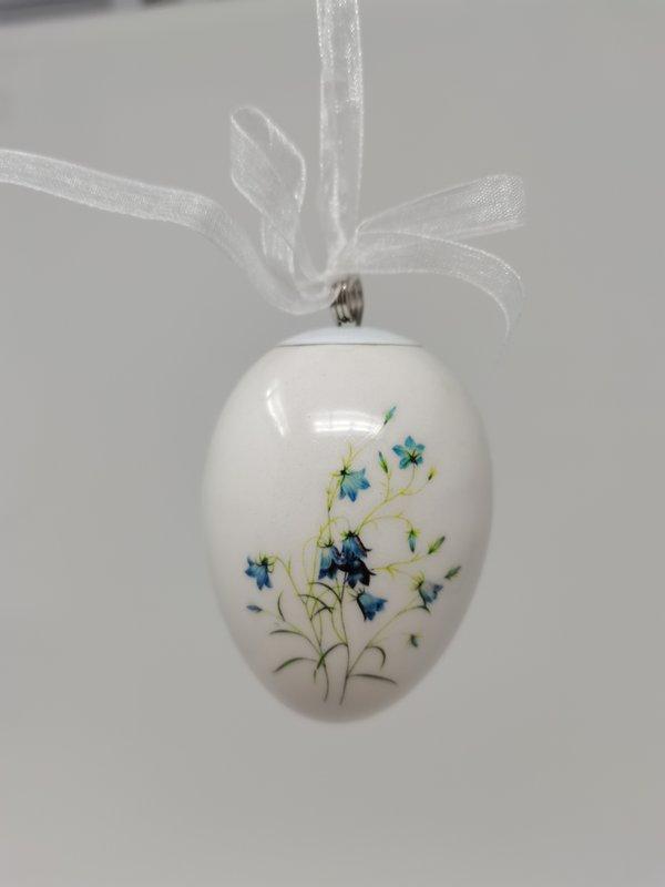 Exner Ei Osterei Dolomite, Keramik mit Blütenmotiven: Iris gelb, Glockenblume blau, Vergissmeinnicht hellblau, Glockenblume lila,  4 verschiedene Motive, Lieferung erfolgt sortiert, hängendes Dekoei