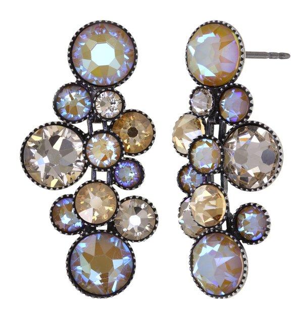 Konplott Ohring, Stecker hängend, Water Cascade in beige, Farbbezeichnung Jelly Royal beige, auf antique silver