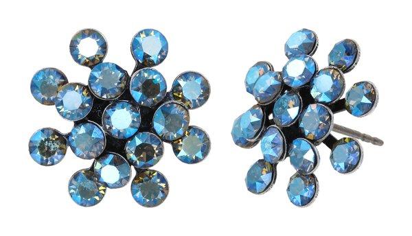 Konplott Mini Magic Fireball Ohrringe Ohrstecker blau vitrail Farbbezeichnung blue black diamond shimmer antique silver Kollektion Frühling 2021