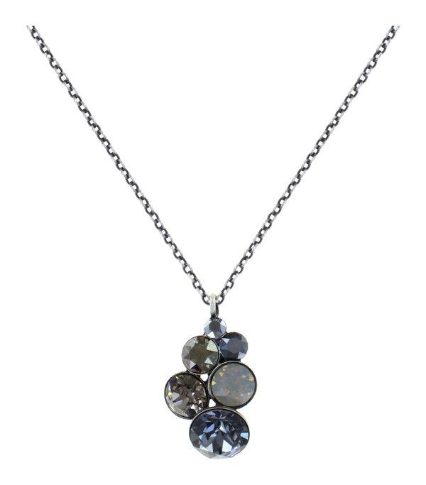 Konplott Pendant Kette mit Anhänger Petit Glamour in schwarz, grau, milchig weiss, Farbbezeichnung silver carbon black, auf antique silver