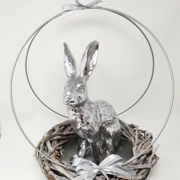"Osterdeko Gesteck ""Silver Easter Rabit"""