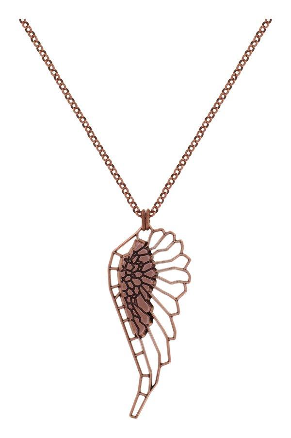 Konplott Kette lang 70 cm Speechless Flügel auf antique copper Design by Miranda Konstantindou