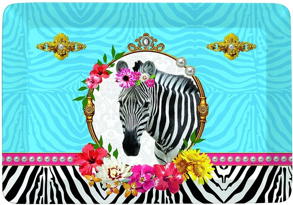 "Mini Tablett ""Fancy Life"" im angesagten Zebra Look, Melamin"