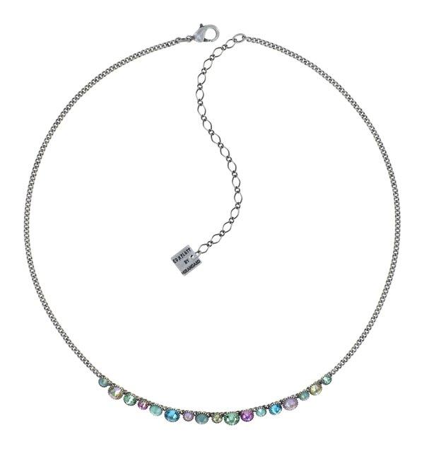 Konplott Pendant kleines Collier Rundhalskette mit Vorderbesatz Water Cascade in mint, rosa, hellgrün, Farbbezeichnung Miami Ice, auf antique silver
